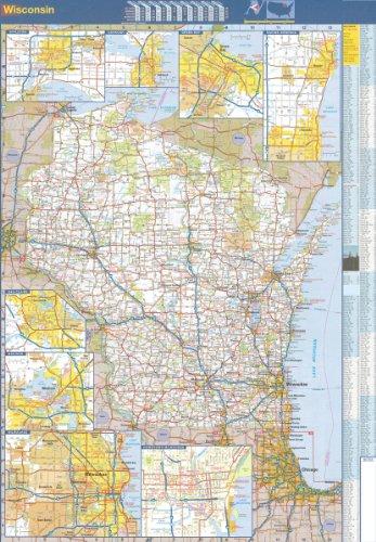 Wisconsin State Offizielle Wandkarte, laminiert, 48 x 70 cm