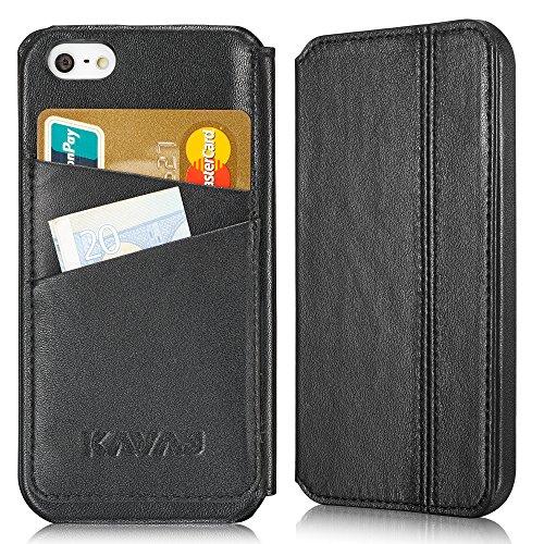 """KAVAJ iPhone Ledertasche Case Hülle """"Dallas (Modell 2015)"""" für das Apple iPhone SE, iPhone 5S und das iPhone 5 schwarz aus echtem Leder mit Visitenkartenfach. Dünne Klapphülle Tasche als edles Zubehör für das Original Apple iPhone SE/5S/5"""
