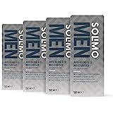 Marchio Amazon - Solimo Uomo crema idratante viso Q10 anti età - Protezione UV, 4x50ml