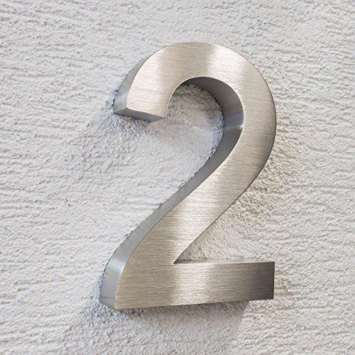 Grob geschliffene 3D Hausnummer witterungsbeständig Edelstahl V2A groß 20cm silber rostfrei alle Ziffern Buchstabe a b c d (2)