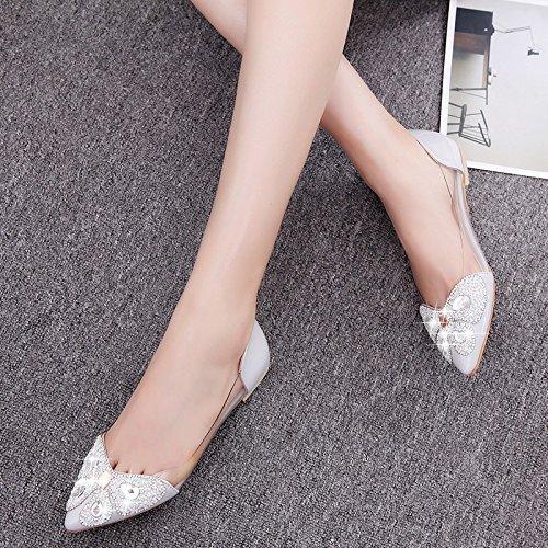 XY&GK Donna Sandali Estate a fondo piatto tacco basso punto piatto Diamond Scarpe Donna antiscivolo sandali femmina gray