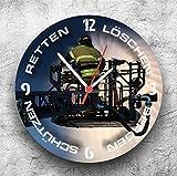 Roter Hahn 112 Hochwertige Feuerwehr Wanduhr Uhr Drehleiter/25cm/Geräucharm Test