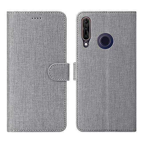 Foluu Wiko View 3 Pro Hülle, Wiko View 3 Pro Brieftaschen-Schutzhülle mit Kartenschlitz starker Magnetverschluss Klapphülle weiches TPU stoßfest für Wiko View 3 Pro 2019 Phone (Grau)