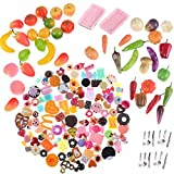 TOYZHIJIA Miniature Resin Dessert Cake Mixed Vegetables Fruit Decoration Tableware Play Food Set DIY Decor Doll House,Style Random