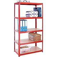 Rangement Garage: 180 cm x 90 cm x 45 cm | Rouge - 5 Niveaux | 265 kg par Tablette (Capacité Totale de 1325 kg…