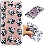 Funda iPhone 6/6S silicona transparente Ultra-fino TPU suave Carcasa Bumper DECHYI Patrón arte-panda