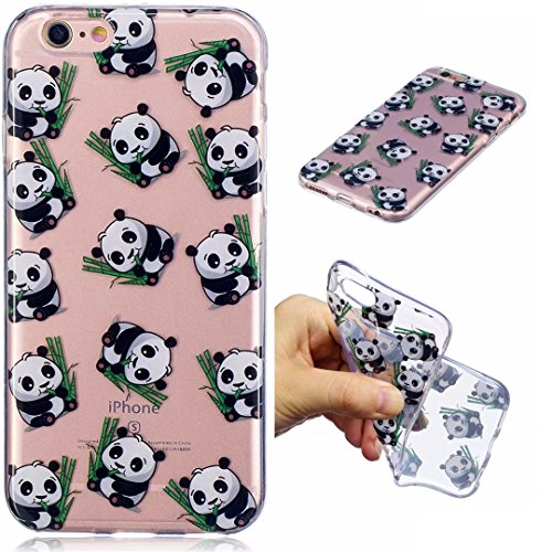 Cover iPhone 6 PLUS Silicone ultra trasparente sottile TPU morbido Custodia Modello di arte cover-panda panda