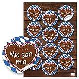 12 blau weiß karierte MIA SAN MIA Bayern Aufkleber Lebkuchenherz 6 cm Schriftzug für die FC Bayern Fans - lustige Sticker für Fußballer und alle die bayerische Mundart und das Oktoberfest lieben