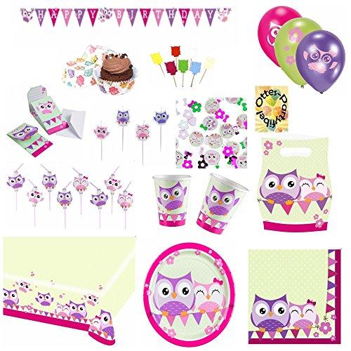 Happy Owl Lustige Eule Partyset 143 TLG für 8 Kinder Teller Becher Servietten Einladungen Mitgebsel-Tüten Tischdecke Trinkhalme Luftballons Girlande Konfetti Kerzen Muffinförmchen ()