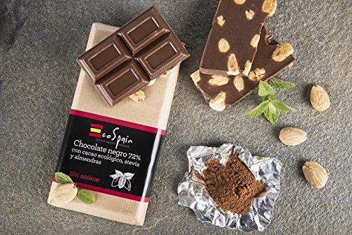 Chocolate negro 72% con cacao ecológico, almendras y stevia. Sin azúcar. Apto para diabéticos. 150 Gr. Sin gluten. Sin conservantes ni colorantes. Producto Gourmet