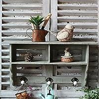 HETAO Personality Nordic Retro Wall-Mounted Wooden Racks Hook Storage Rack Country-Style Linked Coat Rack, 61 * 15 * 34cm Shelf
