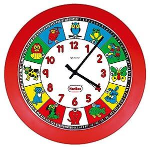 Henbea- Reloj de Cuarzo didáctico con Animales, Color Rojo (782)