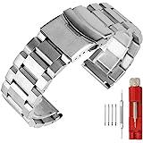 Bracelet de montre de rechange en acier inoxydable Finition brossée Unisexe - 18 mm, 20 mm, 22 mm, 24 mm - Noir/Argenté