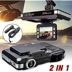 euzeo 2en 1multifunción 5MP coche DVR grabadora + Radar Detector de velocidad Trafic alerta Inglés
