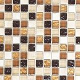 Mosaik Fliese Transluzent beige braun Glasmosaik Crystal Stein beige braun für BODEN WAND BAD WC DUSCHE KÜCHE FLIESENSPIEGEL THEKENVERKLEIDUNG BADEWANNENVERKLEIDUNG Mosaikmatte Mosaikplatte