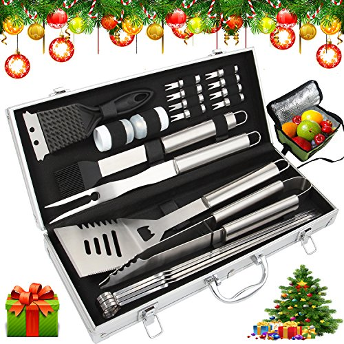 Bonus Cooler Bag - 20pc Stainless Steel BBQ Grill Tool Set for Men with Gift Box Package - Complete Outdoor Barbecue Grilling Accessories Kit in Aluminum Storage Case - by ROMANTICIST