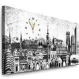 Julia-Art Bilder - München Leinwandbild - 150 x 60 cm Wandbild mit Uhr - Wanduhr Geräuschlos - Küchenuhr Kunstdruck xxl Panorama - Fertigbild sofort aufhängbar Wu-12a-21