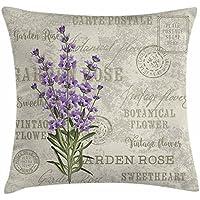 Proud - Funda de cojín de lavanda con diseño de postal vintage y diseño de flores, 45,7 x 45,7 cm, color verde y beige