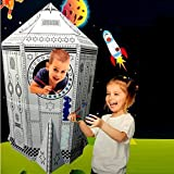 New Large Colour Your Own Rocket Space Ship House Childrens Playhouse Kids Cardboard Wendy Tent Art