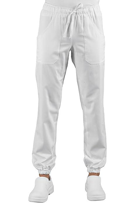 Wwoo Pantalones Medicos De Mujer Blancos Pantalones De Trabajo Uniformes De Hospital Cintura Elastica Material Medico Profesional Suelto Sanitarios Ropa Especializada