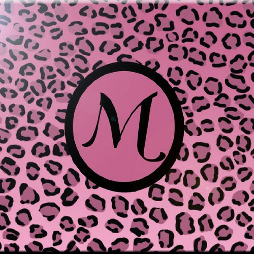 Rikki Knight Buchstabe M Monogramm Design Art Keramik Fliesen, 4by 4-Zoll, Licht Pink Leopard Print