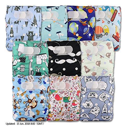 LittleBloom, Reusable Pocket Cloth Nappy, Fastener: Hook-Loop, Set of 10