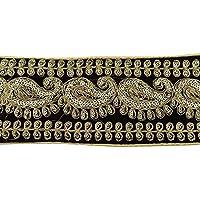 Terciopelo Tela bordada recorte 8,1 cm de ancho India Sari elaboración coser por el astillero