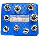 9-tlg. Stecknüsse E-Profil Set ( Aussen-Torx), Steckschlüsseleinsätze E10 - E24