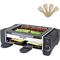 Raclette Mini Appareil a Raclette Inclus 2 Poêlons et 4 Spatule, Température Réglable, Revêtement Antiadhésives - 500W