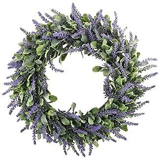 HUAESIN Corona de Navidad Guirnalde de Puerta 45cm Flores Colgantes Artificiales Lavanda Coronas Puerta Navidad de Entrada Corona Primavera para Ventana Chimenea Decoración Pared Escalera Purpura