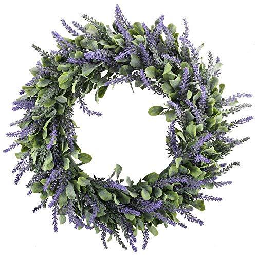 HUAESIN Künstliche Lavendel Kranz Türkranz Wandkranz Künstlich Kränze Fruehling Kranz Dekokranz Weihnachtskranz für Frühling Outdoor Wand Tür Kamin Ostern Weihnachten 17.7 inch (Frühlings-kranz Für Draußen)