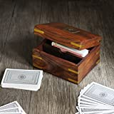#8: Store Indya Triple Deck Playing Cards Wooden Storage Box Holder Hand Crafted with Decorative Brass Ace Inlay -Set of 3 cards included