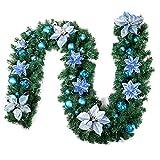 iStary Weihnachtsgirlande Mit Künstliche Tannengirlande Grün Deko Indoor & Outdoor 2,7 Meter Warmweißes Licht Tannengirlande Girlande LED Lichterkette, Akkubetrieb!
