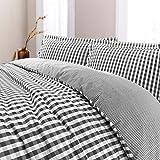 Nimsay Home, set di biancheria da letto reversibile, lussuoso, a quadretti, 100% cotone filato tinto T200, con copripiumino e federe, Anthracite, King