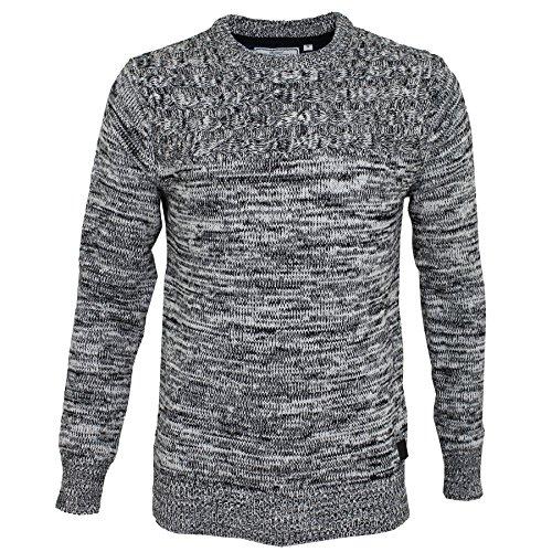Felpa da uomo girocollo cotone croce design maglia Pullover by Brave Soul Black / Ecru Twist Small