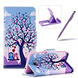 Leather Case for Samsung Galaxy J3 2016,Flip Wallet Cover for Samsung Galaxy J3 2016,Herzzer Stylish Owl Tree Pattern Magnetic Closure Purse Folio Smart Stand Cover with Card Cash Slot Soft TPU Inner Case for Samsung Galaxy J3 2016 + 1 x Free Purple Cellphone Kickstand + 1 x Free Purple Stylus Pen