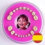 Cajita para Dientes de Leche --- Firsty Round --- (Rosa, Chica) ABF con texto en Espagnol (Rosa)