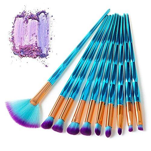 Bulary 12 pcs Pro Pinceaux de maquillage ombre à paupières Eye Fan Brosse Poudre libre avec diamant Concave-convex Gem Vert Poignées