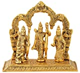Houzzplus Rajasthani Handicraft Metal Ram Darbar Murti - Lord Ram laxman sita statue - Showpiece for diwali - unique gifts (20 cm x 10 cm x 20 cm, Gold)