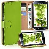 moex Samsung Galaxy S4 Mini | Hülle Grün mit Karten-Fach 360° Book Klapp-Hülle Handytasche Kunst-Leder Handyhülle für Samsung Galaxy S4 Mini Case Flip Cover Schutzhülle Tasche
