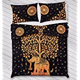 """Urban Trends New Exclusive Range Of Queen Size 100% Cotton Duvet Cover Sets With 2 Pillow Covers, Indian Reversible Duvet Cover Quilt Cover Coverlet Bohemian Doona Cover Handmade 84"""" X 92"""""""