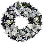 WeRChristmas decorato–illuminato con 20LED a luce bianca fredda, 60cm, colore: Nero/Argento