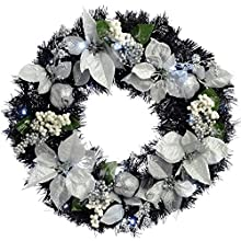 WeRChristmas Pre-Lit Decorated Wreath Illuminated with 20 Cool White LED Lights, 60 cm - Black/Silver