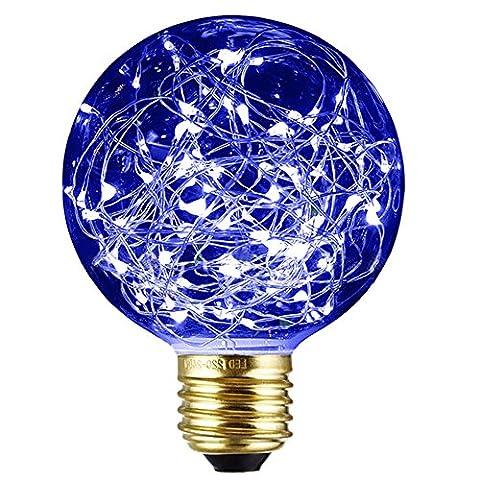 Xinrong Ampoule décorative LED Motif ciel étoilé Filaments Edison en cuivre Culot E27220V 3W Économie d'énergie Style vintage Pour décoration intérieure, fêtes de Noël, suspension , bleu, E27 3.0 wattsW 220.0 voltsV