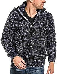 BLZ jeans - Gilet fourré zippé homme noir chiné à capuche