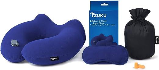 IZUKU Reisekissen Ideal für Reise Büro und Haus Nackenkissen mit stützenender Funktion Aufblasbares Nackenhörnchen mit Dem egornomischen Entwurf Weiches Nackstützenkissen(Blau/Grau/Schwarz/Marineblau)