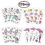 Konsait 175 Tatuajes temporales Sirena para Niños Niñas Favores de Fiesta Infantiles Cumpleaños Regalos Piñata Juguetes de Fiesta Bolsas de Relleno para Niños