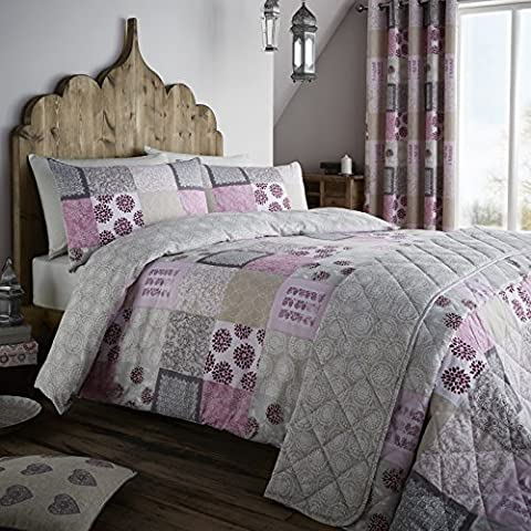 Catherine Lansfield Home Ethnic Floral Patchwork Lined Eyelet Curtains, Berry, 66 x 72 Inch