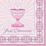 Unique Party Supplies Strahlend Kreuz Pink Erste Kommunion Servietten, 16Stück