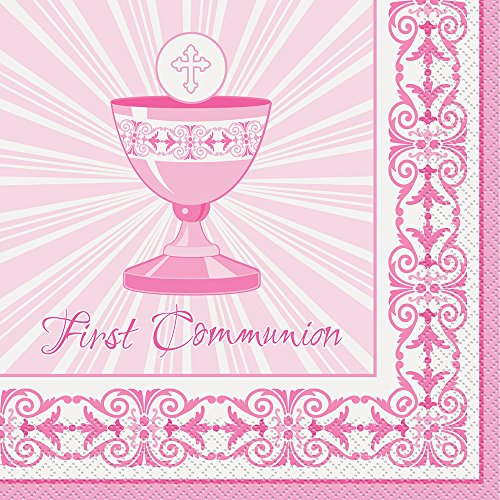 Unique Party Supplies Strahlend Kreuz Pink Erste Kommunion Servietten, 16Stück (Die Kommunion-party Erste)
